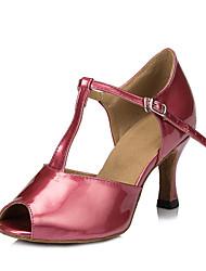 abordables -Mujer Zapatos de Baile Latino PU Sandalia / Tacones Alto Hebilla Tacón Carrete Personalizables Zapatos de baile Rojo Oscuro