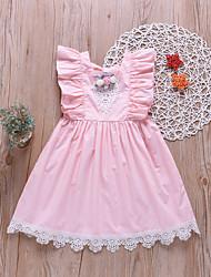 お買い得  -子供 女の子 かわいいスタイル / ストリートファッション ソリッド レース ノースリーブ 膝上 コットン ドレス ピンク