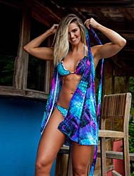 tanie -Damskie Niebieski Bikini Stroje kąpielowe - Kwiaty M L XL Niebieski