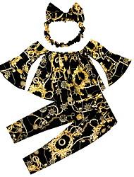 זול -סט של בגדים שרוול ארוך דפוס בנות ילדים