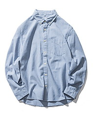 cheap -men's loose shirt - solid colored shirt collar