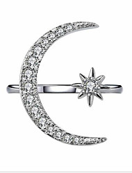 Недорогие -Жен. Открытое кольцо Цирконий 1шт Золотой Белый Позолота Геометрической формы Мода Свадьба Для вечеринок Бижутерия Классический Полумесяц Милый