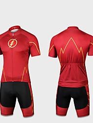 お買い得  -男性用 女性用 半袖 ショーツ付きサイクリングジャージー - ダークブルー バイク 速乾性 スポーツ スーパーヒーロー マウンテンサイクリング ロードバイク 衣類 / 伸縮性あり