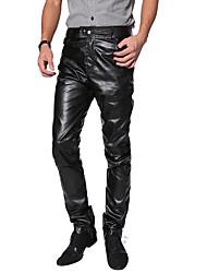 """Недорогие -Костюмы на все тело """"зентай"""" Кожаный костюм Мотоцикл Мужчины Взрослые Латекс Косплэй костюмы Штаны Муж. Черный Однотонный Хэллоуин Карнавал Маскарад"""