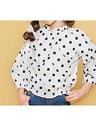 abordables -Niños Chica Activo / Chic de Calle Un Color / A Lunares Plisado Manga 3/4 Algodón Camisa Blanco