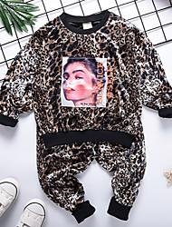 Недорогие -Дети Мальчики Активный Леопард С принтом Длинный рукав Короткий Обычная Полиэстер Набор одежды Коричневый