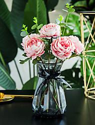 Χαμηλού Κόστους -Ψεύτικα λουλούδια 5 Κλαδί Κλασσικό Γάμος Λουλούδια Γάμου Παιώνιες Αιώνια Λουλούδια Λουλούδι για Τραπέζι