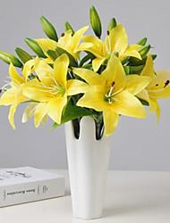 abordables -Fleurs artificielles 3 Une succursale Classique Européen Style Simple Lis Fleurs éternelles Fleur de Table
