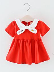 billige -Baby Jente Grunnleggende Ensfarget Kortermet Ovenfor knéet Polyester Kjole Rød