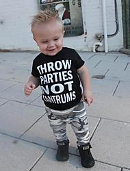 billige -Baby Gutt Aktiv / Grunnleggende Trykt mønster Trykt mønster Kortermet Normal Bomull / Spandex Tøysett Svart