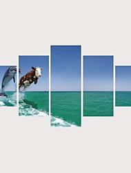 levne -Grafika Válcované plátno Reprodukce maleb na plátně - Zvířata Voda a moře Současný styl Moderní Pět panelů