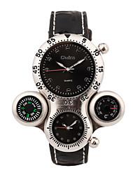 Недорогие -Oulm Муж. Спортивные часы Японский Кварцевый Кожа Черный Термометр Компас С двумя часовыми поясами Аналоговый Роскошь - Белый Черный Один год Срок службы батареи