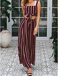 저렴한 -여성용 베이직 / 정교한 디테일 세트 - 줄무늬, 레이스 -업 팬츠