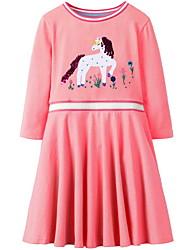 Χαμηλού Κόστους -Παιδιά Κοριτσίστικα χαριτωμένο στυλ Γεωμετρικό Μακρυμάνικο Πάνω από το Γόνατο Πολυεστέρας Φόρεμα Ανθισμένο Ροζ