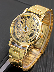 cheap -Men's Dress Watch Quartz Silver / Gold 30 m Water Resistant / Waterproof Analog Skeleton - Silver Golden Two Years Battery Life