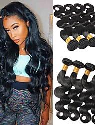 olcso -6 csomag Brazil haj Hullámos haj Kémiai anyagoktól mentes / nyers Sisak Az emberi haj sző Késleltető 8-28 hüvelyk Fekete Természetes szín Emberi haj sző Szagmentes Puha Fekete hölgyeknek Human Hair