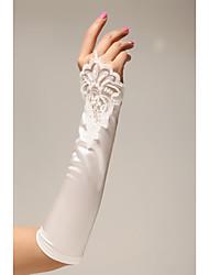ราคาถูก -ซาติน ความยาวข้อศอก ถุงมือ สง่างาม กับ Petal