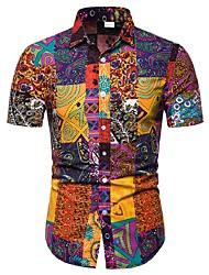 Недорогие -Муж. С принтом Большие размеры - Рубашка Хлопок Этно Цвет радуги / С короткими рукавами