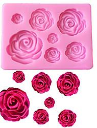 Недорогие -розовые цветы в форме помады силиконовые формы ремесло шоколадные формы для выпечки