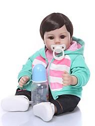 Недорогие -NPKCOLLECTION NPK DOLL Куклы реборн Девочки 18 дюймовый Подарок Ручная работа Искусственная имплантация Коричневые глаза Детские Универсальные Игрушки Подарок
