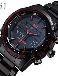 Недорогие -ASJ Муж. Спортивные часы Японский Цифровой Нержавеющая сталь Черный 100 m Защита от влаги Будильник ЖК экран Аналого-цифровые Мода - Белый Красный Один год Срок службы батареи