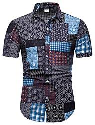 Недорогие -Муж. С принтом Большие размеры - Рубашка Хлопок Цветочный принт / Геометрический принт / Контрастных цветов Черный