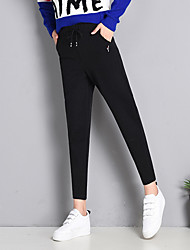 cheap -Women's Street chic Chinos Pants - Solid Colored Black