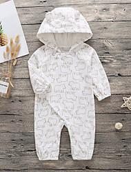 preiswerte -Baby Jungen Grundlegend Druck Moderner Stil / Neuheit / Tiermuster Langarm Polyester Einzelteil Weiß