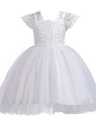 cheap -Kids / Toddler Girls' Vintage / Sweet Solid Colored Sleeveless Knee-length Dress White