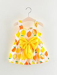 Χαμηλού Κόστους -Μωρό Κοριτσίστικα Βασικό Φρούτα Αμάνικο Πάνω από το Γόνατο Βαμβάκι Φόρεμα Κίτρινο