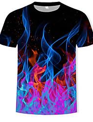 6aef408afd8852 Herrn Geometrisch / 3D - Grundlegend / Street Schick T-shirt,  Rundhalsausschnitt Druck Schwarz XXXXL / Kurzarm