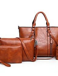 hesapli -Kadın's Çantalar PU Çanta Setleri 4 Adet Çanta Seti Düğme için Randevu / Dış mekan İlkbahar yaz / Sonbahar Kış Doğal Pembe / Gri / Kahverengi