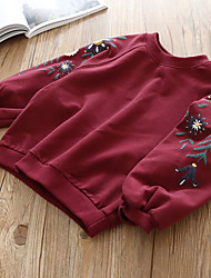 tanie -Dzieci Dla dziewczynek Podstawowy Żakard Haft Długi rękaw Bawełna Bluzka Rumiany róż