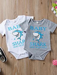 voordelige -Baby Jongens Actief / Standaard Effen / Print Dieren Vorm Korte Mouw Katoen Eendelig Wit