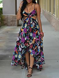 Недорогие -А-силуэт На тонких бретелях Асимметричное Шифон Платье с Узоры / принт от LAN TING Express