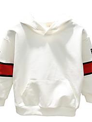 abordables -Enfants Garçon Basique Couleur Pleine / Imprimé Lacet / Imprimé Manches Longues Coton Pull à capuche & Sweatshirt Blanc