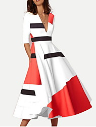 Недорогие -Жен. С летящей юбкой Платье - Контрастных цветов До колена