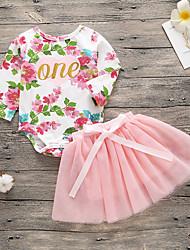 preiswerte -Baby Mädchen Aktiv / Grundlegend Druck Druck Langarm Lang Baumwolle Kleidungs Set Rosa