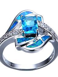 Недорогие -Жен. Обручальное кольцо 1шт Светло-синий Стразы Сплав Подарок Повседневные Бижутерия