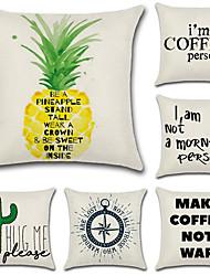 abordables -6 pcs Coton / Lin Taie d'oreiller, Vacances Citations & Dictons Lettre Fruit Style moderne