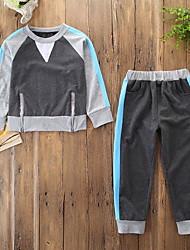 זול -סט של בגדים שרוול ארוך קולור בלוק בנים תִינוֹק