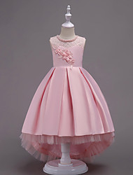 9daeea5b21a cheap Flower Girl Dresses-Princess Asymmetrical Flower Girl Dress - Satin   Tulle  Sleeveless Jewel