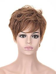 olcso -Szintetikus parókák Természetes egyenes Szőke Aszimmetrikus frizura Eperszőke Szintetikus haj 6 hüvelyk Női Parti Szőke Paróka Rövid Sapka nélküli