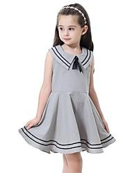 Χαμηλού Κόστους -Παιδιά Κοριτσίστικα χαριτωμένο στυλ Ριγέ Αμάνικο Πάνω από το Γόνατο Πολυεστέρας Φόρεμα Γκρίζο