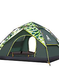 Недорогие -Sheng yuan 3 человека Туристические палатки Семейный кемпинг-палатка На открытом воздухе С защитой от ветра Дожденепроницаемый Воздухопроницаемость Двухслойные зонты Палатка >3000 mm для
