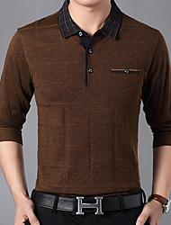 baratos -Homens Camiseta Listrado Colarinho de Camisa