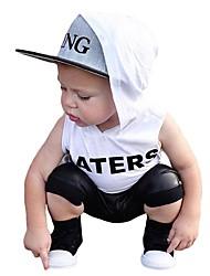 abordables -Bebé Chico Activo / Básico Estampado Estampado Manga Corta Regular Algodón Conjunto de Ropa Blanco