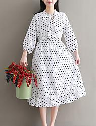 baratos -Mulheres Boho balanço Vestido Poá Médio