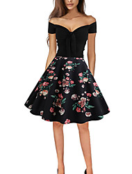 8541e9e1a33 cheap Cocktail Dresses-Casual Dress A-Line Off Shoulder Knee Length Jersey  Dress with