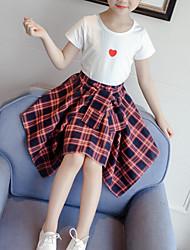 baratos -Infantil / Bébé Para Meninas Básico / Moda de Rua Floral / Xadrez Laço / Estampado Manga Curta Algodão / Poliéster Conjunto Branco